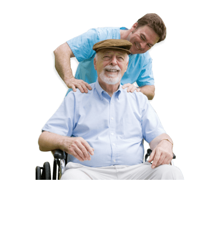 a caretaker doing some muscle exercise to an old man